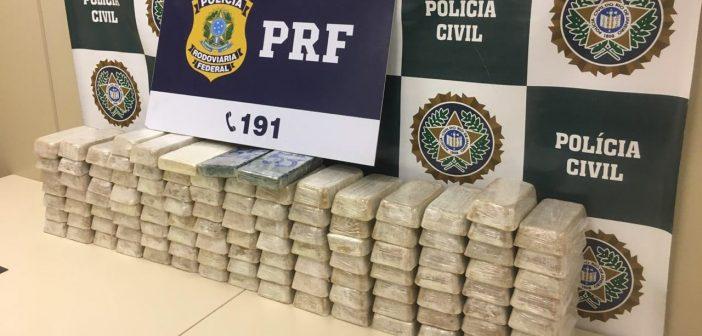 PRF apreende mais de 100 quilos de pasta base de cocaína em Três Rios
